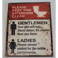 Please Keep Bathroom Clean Mens Womens Metal Sign Pub Game Room Bar