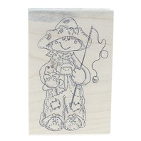 Stamp Affair 141 Little Boy with a Fishing Pole and Frog Wooden Rubber Stamp