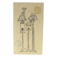 Judith Bird Houses on a Pole Wooden Rubber Stamp