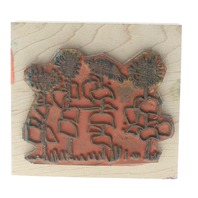 Imaginations Sunflowers in a Row Cluster Wooden Rubber Stamp