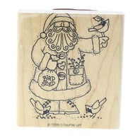Santa With Birds and Bird Seed Stampin Up 1999 Wooden Rubber Stamp