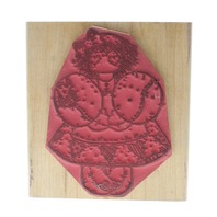 Miss Februaury February aubreyLittle Girl with a Heart Dress Wooden Rubber Stamp
