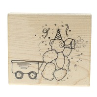 Dots Celebration Teddy Bear with a Wagon Wooden Rubber Stamp
