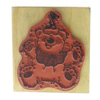 Hooks Lines and Inkers 1993 Teddy Bear Party Hat Wooden Rubber Stamp