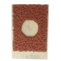 Stampin Up Fleur Scroll Frame Wooden Rubber Stamp