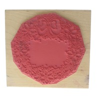 Dots Poinsettia Wreath with a Bow Wooden Rubber Stamp