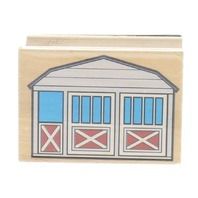 Farmer's Barn Building Wooden Rubber Stamp