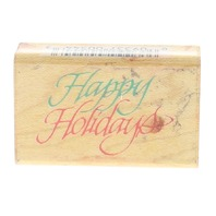 Comotion Happy Holidays 1992 #544 Wooden Rubber Stamp