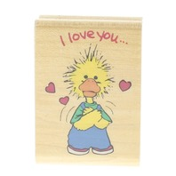 Rubber Stampede I love You Suzy's Zoo 744-D Wooden Rubber Stamp