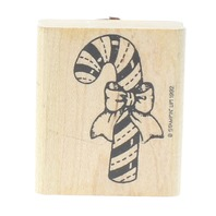 Stampin Up 1992 Candy Cane with a Bow Wooden Rubber Stamp