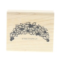 Stampin Up 1992 Poinsettia Swag Wooden Rubber Stamp