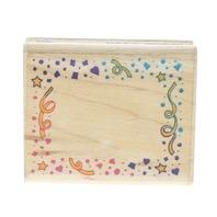Inkadinkado Party Festive Frame Confetti Wooden Rubber Stamp