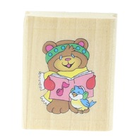 Teddy Bear Singing with a Little Bird Wooden Rubber Stamp