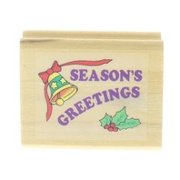 Season's Greetings with Bell and Holly Wooden Rubber Stamp