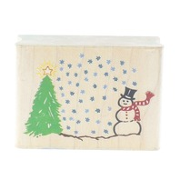 Rubber Stampede Post Impressions Snowman Scene Snow Tree Wooden Rubber Stamp