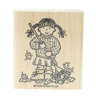 Stampin Up Little Girl Raking the Fall Leaves Wooden Rubber Stamp