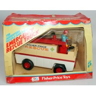 Fisher Price Vintage Adventure People Emergency Rescue Truck With Box #303
