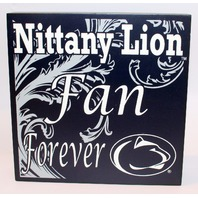 Penn State Nittany Lionm Fan Forever Wooden Distressed College Square Sign