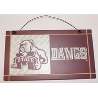 Mississippi State Dawgs Door Wall Hanger Wooden Distressed Collegiate Sign
