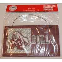 Mississippi State Dawgs Bull Dog Bully Door Hanger Wooden Distressed Collegiate Sign