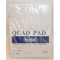 """Quad Ruled Pen Tab White 12 packs of 50 Sheets Each New 8.5"""" x 11"""" No 78143"""