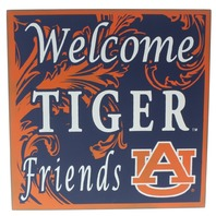 Welcome Tiger Friends Auburn University AU Wooden Distressed College Square Sign