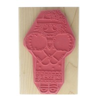 Dots Miss June Victoria Little Girl with a Hat Wooden Rubber Stamp
