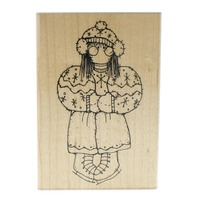 Dots Miss January Gabrielle S155  Little Girl with Ice Skates Wooden Rubber Stamp