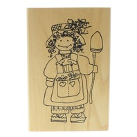 Imaginations Little Gardner Girl with a Shovel Wooden Rubber Stamp