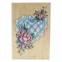Sampendolus 1994 Fun Stamps Quilted Floral Heart Wooden Rubber Stamp