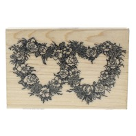 Artistic Stamp Exchange Pair of Rose Heart Wreaths Frame Wooden Rubber Stamp
