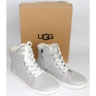 Youth Girls 6 UGG High Top Sneakers Silver Tie Side Zipper