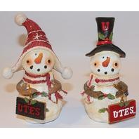 College University of Utah Utes NCAA Licensed Snowman Christmas Ornament pair