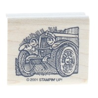 Stampin UP 2001 Old Car Automobile Motor Vehicle Wooden Rubber Stamp
