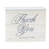 Stampin UP Thank You 1992 Cursive Writing Words Wooden Rubber Stamp