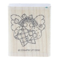 Stampin Up 1996 Angel with Plaid Star Wooden Rubber Stamp