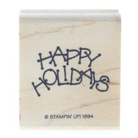 Stampin Up 1994 Happy Holidays Wooden Rubber Stamp