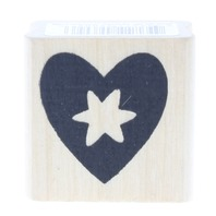 Heart with a Punchout Starburst in the Center Wooden Rubber Stamp