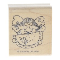Stampin Up 1996 Girl Wating Watermelon with Pigtails Wooden Rubber Stamp