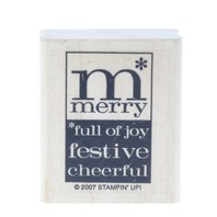 Stampin Up 2007 M Memory Full of Joy Festive Cheerful Wooden Rubber Stamp