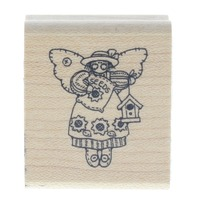 Little Angel of Seeds and Sunflowers with Birdhouse Wooden Rubber Stamp