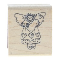Little Angel of the Heart Wooden Rubber Stamp
