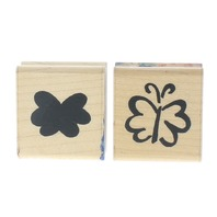JRL Design Butterfly Duo Bold Outline Set of Wooden Rubber Stamp