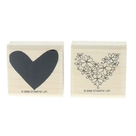 Stampin Up Floral Heart Duo Set of Wooden Rubber Stamp