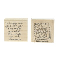 Stampin Up Birthdays are Good The More You Have Duo Set of Wooden Rubber Stamp