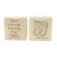 Stampin Up Your Kindness Touches my Heart Duo Set of Wooden Rubber Stamp