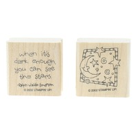 Stampin Up Ralph Waldo Emerson Quote Stars Moon  Duo Set of Wooden Rubber Stamp