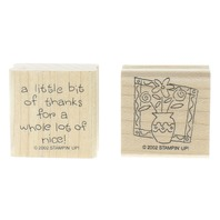 Stampin Up A Little Bit of Thanks Flowers Duo Set of Wooden Rubber Stamp