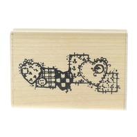 JRL Design Button Patchwork Hearts Border Wooden Rubber Stamp