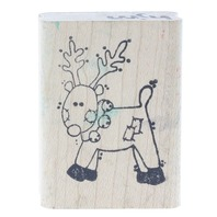 Limited Edition 1996 Ditsy Fun Reindeer Wooden Rubber Stamp